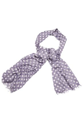 Ladies Bewitched Polka Dot Linen Effect Scarf Smoke