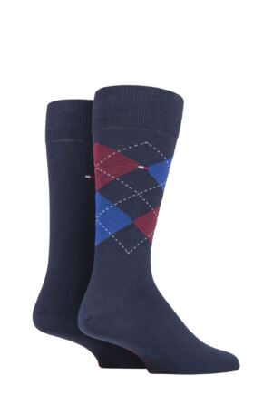 Mens 2 Pair Tommy Hilfiger Classic Tommy Check Argyle and Plain Socks