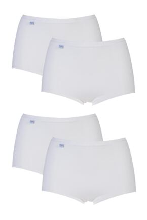 Ladies 4 Pair Sloggi Basic Maxi Briefs White 32