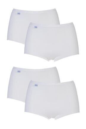 Ladies 4 Pair Sloggi Basic Maxi Briefs White 14
