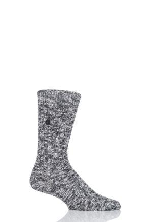 Mens 1 Pair Birkenstock Cotton Slub Thick Ribbed Socks Black 5.5-7.5 Mens