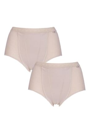 Ladies 2 Pack Sloggi Control Shaping Maxi Cotton Briefs