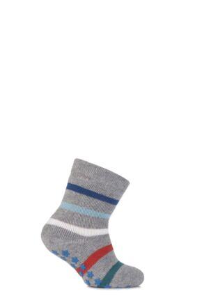 Babies 1 Pair Falke Multicoloured Stripe Catspads With Star Grip Light Grey 74-80