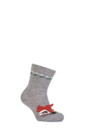 Babies 1 Pair Falke Cotton Fox Socks with 3D Ears Light Grey 80-92
