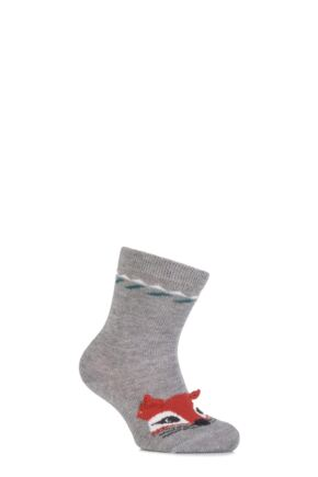 Babies 1 Pair Falke Cotton Fox Socks with 3D Ears Light Grey 74-80