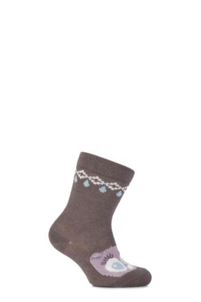 Babies 1 Pair Falke Cotton Owl Socks with 3D Ears and Nose Grey 62-68