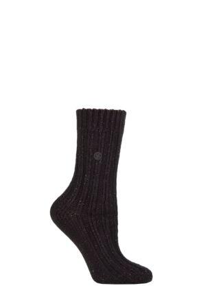 Ladies 1 Pair Birkenstock Cotton Bling Ribbed Socks