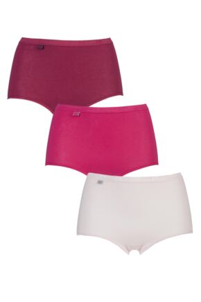Ladies 3 Pair Sloggi Basic Maxi Briefs Pinks 28