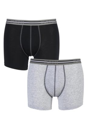 Mens 2 Pair Sloggi Match Cotton Shorts In Black and Grey