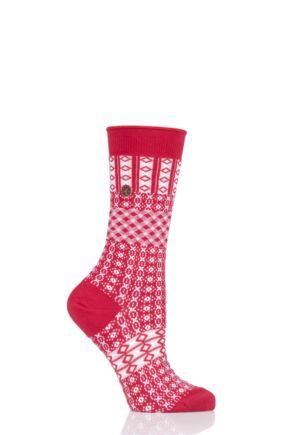 Ladies 1 Pair Birkenstock Cotton Ethno Summer Socks Tango Red 3.5-5 Ladies