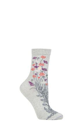 Ladies 1 Pair Birkenstock Cotton Bling Flower Pattern Socks
