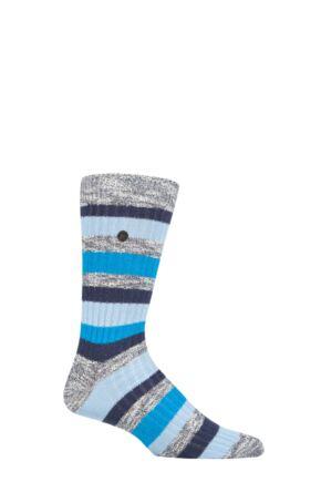 Mens 1 Pair Birkenstock Slub Striped Cotton Socks