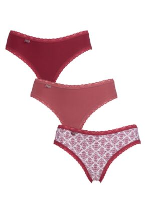 Ladies 3 Pack Sloggi Weekend Everyday Hipster Knickers Red 10