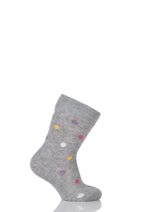 Boys And Girls 1 Pair Falke Spotty Cotton Socks 25% OFF Grey Multi 19-22