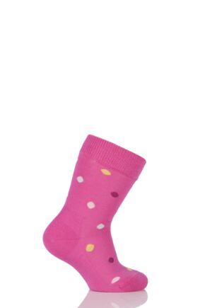 Boys And Girls 1 Pair Falke Spotty Cotton Socks Pink 19-22