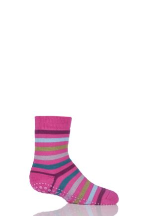 Boys and Girls 1 Pair Falke Striped Catspads Deep Pink 19-22