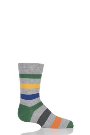 Boys And Girls 1 Pair Falke Striped Cotton Socks Grey 19-22