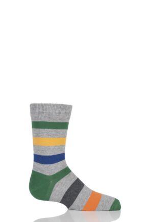 Boys And Girls 1 Pair Falke Striped Cotton Socks Grey 23-26