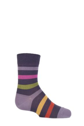 Boys And Girls 1 Pair Falke Striped Cotton Socks Viola 19-22