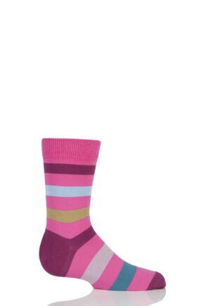 Boys And Girls 1 Pair Falke Striped Cotton Socks Pink 19-22