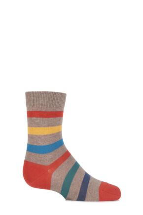 Boys And Girls 1 Pair Falke Striped Cotton Socks Nutmeg Melange 31-34