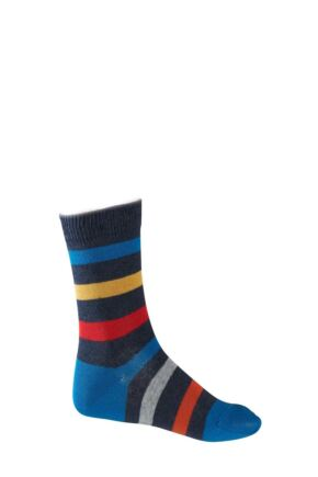 Boys And Girls 1 Pair Falke Striped Cotton Socks Navy Multi 19-22