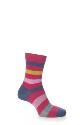 Boys And Girls 1 Pair Falke Striped Cotton Socks Pink Multi 19-22
