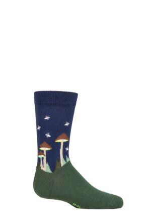 Boys and Girls 1 Pair Falke Glow in the Dark Mushrooms Organic Cotton Socks