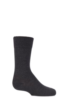 Boys and Girls 1 Pair Falke Comfort Wool Plain Socks Anthracite Melange 31-34
