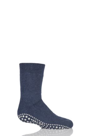 Boys And Girls 1 Pair Falke Catspads Slipper Socks Dark Blue 39-42