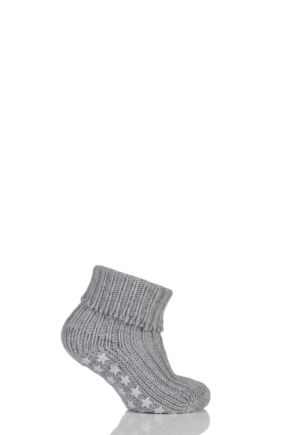 Babies 1 Pair Falke Catspads Slipper Socks Light Grey Melange 80-92