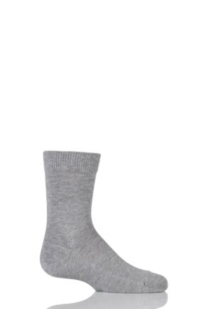 Boys and Girls 1 Pair Falke Back to School Plain Cotton Socks Grey 31-34