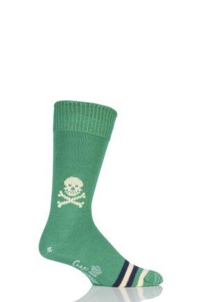 Mens 1 Pair Corgi 100% Cotton Skull Socks Emerald L