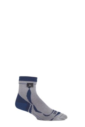 Mens and Ladies 1 Pair Sealskinz New Thin Ankle Length 100% Waterproof Socks Grey / Blue L