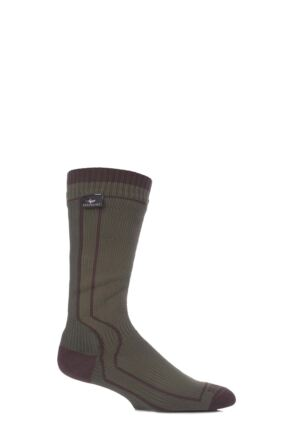 Mens and Ladies 1 Pair Sealskinz New and Improved Trekking 100% Waterproof Socks Green 12-14