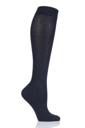 Girls 1 Pair Falke Back to School Plain Cotton Knee High Socks Dark Marine 5.5-8 Teens (13-14 Years)