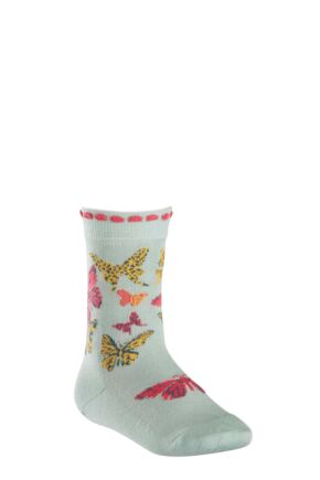 Girls 1 Pair Falke Butterfly Cotton Socks Green 39-42