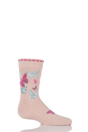 Girls 1 Pair Falke Butterfly Cotton Socks Pink 23-26