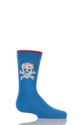 Boys 1 Pair Falke Skull and Crossbone Cotton Socks Blue 39-42
