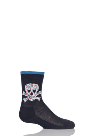 Boys 1 Pair Falke Skull and Crossbone Cotton Socks Dark Marine 23-26