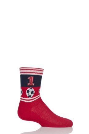 Boys 1 Pair Falke Football Stripe Cotton Socks Red 5.5-8 Teens