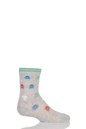 Boys 1 Pair Falke Skull and Cross Bone with Headphones Cotton Socks 25% OFF Grey 19-22