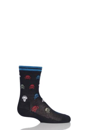 Boys 1 Pair Falke Skull and Cross Bone with Headphones Cotton Socks