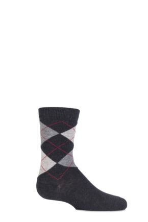Boys and Girls 1 Pair Falke Cotton Argyle Socks Anthracite Melange 19-22