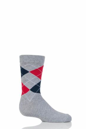 Boys and Girls 1 Pair Falke Cotton Argyle Socks Light Grey 35-38