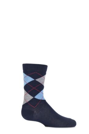 Boys and Girls 1 Pair Falke Cotton Argyle Socks Marine 19-22