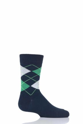 Boys and Girls 1 Pair Falke Cotton Argyle Socks Navy 35-38