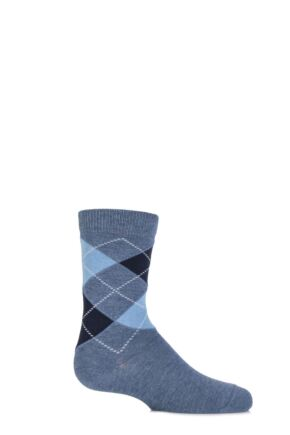 Boys and Girls 1 Pair Falke Cotton Argyle Socks Light Denim 23-26
