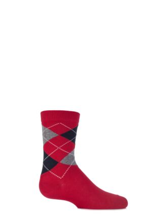 Boys and Girls 1 Pair Falke Cotton Argyle Socks Fire 19-22