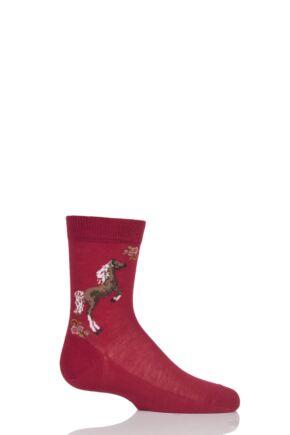 Girls 1 Pair Falke Horse and Floral Cotton Socks Red 35-38